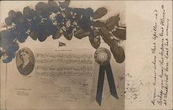 Indiana University Song with flowers and ribbons Postcard
