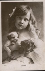 Orphan Girl with Two Puppies Postcard