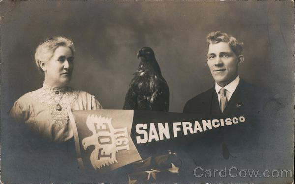 Couple and Eagle with Fraternal Order of Eagles (FOE) Banner San Francisco California