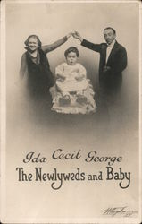 Ida, Cecil, George The Newlyweds and Baby Postcard
