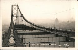 View of Roadbed - S.F. Oakland Bay Bridge Postcard