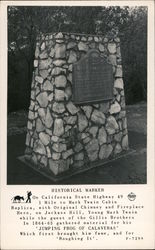 Historical Marker on California State Highway 49 - 1 mile to Mark Twain Cabin Replica Postcard