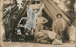 Men Standing Outside a Tent Postcard