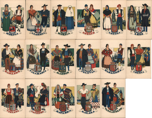 Set of 17: Couples in Costumes Provinces of Spain