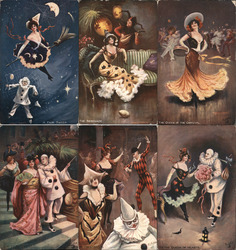 Set of 6: The Carnival Series II Witches, Clowns, Women, Pierrot Postcard