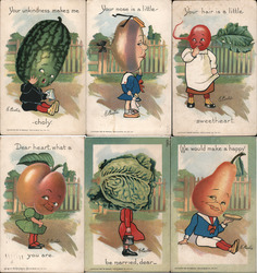 Lot of 6: Vegetable Heads Postcard
