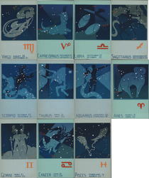 Set of 11: Serigraph Constellations Astrology Zodiac Postcard