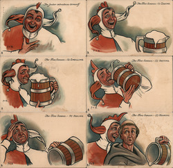 Set of 6: Jester Drinking Beer Humorous Series 1624 Postcard