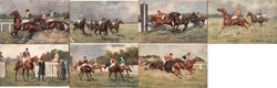 Set of 7: English Horse Racing Postcard
