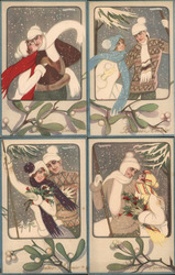 Set of 4: Italian Art Deco Couples Skiing Postcard