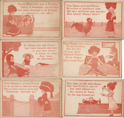 Set of 6: Winnie Wise Has Got a Pussy Postcard