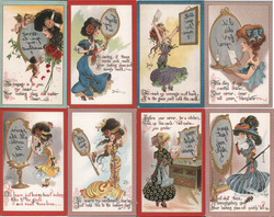 Set of 8: DWIG Women with Mirrors Series Postcard