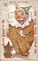 Clown with Weather Barometer Nose - Portola Festival 1909 Postcard