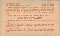 Reward! Stolen 1925 Buick Coupe Postcard