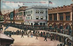 Windward Avenue and Miniature Railway Venice, CA Postcard