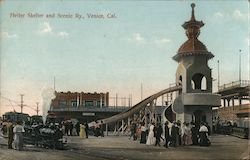 Helter Skelter and Scenic Railway Venice, CA Postcard
