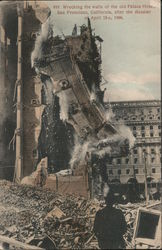Wrecking the Wallf of the old Palace Hotel Postcard