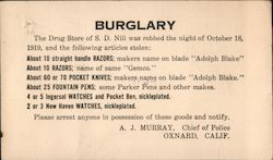 Burglary - Drug Store of S.D. Nill Postcard
