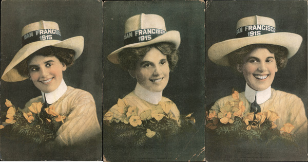 Set of 3: Woman in Hat with Poppies PPIE 1915 San Francisco California