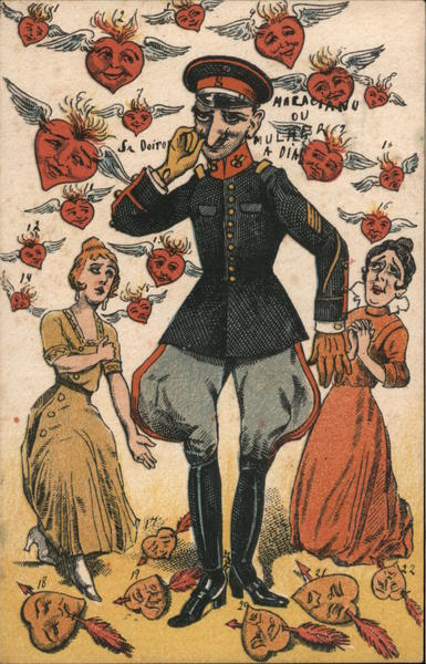 Military Officer Surrounded by Hearts and Admirers
