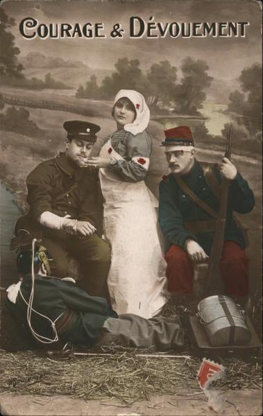 Red Cross Courage & Devouement World War I Postcard