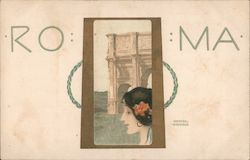 ROMA - Painting of woman's face in front of Arch of Constantine Postcard