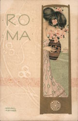 ROMA Young woman holding an urn while staring down Postcard