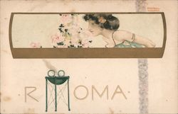 Roma/Woman Smelling Flowers Postcard