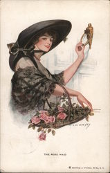 A Woman Holding a Basket of Flowers Knocking on a Door Postcard