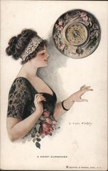A Sweet Surrender - Woman Admires her Ring Postcard