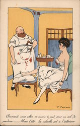French: Surgeon working on Woman's Foot Postcard