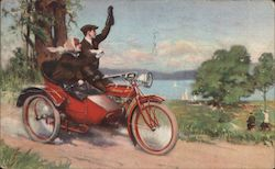 Couple on Indian Motorcycle, sidecar Postcard