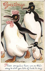 "Family of penguins ""Play-Time Pets"" Series Postcard"