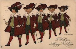 To Wish you a Happy New Year - A Line of 5 boys dressed in finery Postcard