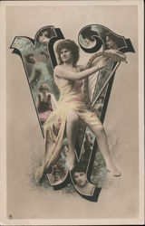 Woman With Harp - Letter V Postcard