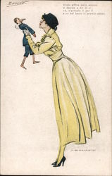 Lady in a yellow dress with tiny man Postcard