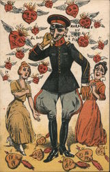 Military Officer Surrounded by Hearts and Admirers Postcard