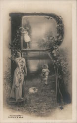 A Woman and Two Girls Standing in an R Postcard