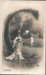 Letter C - Fancy Woman with Parasol, Boy with Butterfly Net Postcard