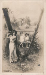 Letter V - Woman and Girls, Classical, Greek, Laurel Wreathes Postcard
