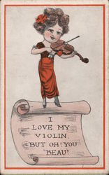 I Love My Violin, But Oh! You Beau! Postcard