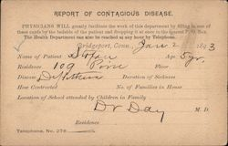 Report of Contagious Disease Postcard