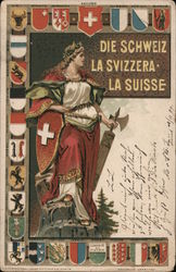 Swiss Coat of Arms, Cantonal Coats of Arms Postcard