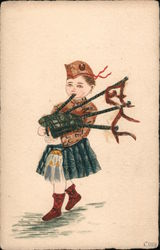 Stamp Montage: Young boy playing a bagpipe in Highland dress Postcard