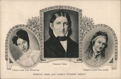 Friedrich Fröbel and his two wives Postcard