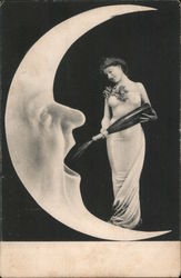 Woman in Elegant Dress with Grapes is Pouring Champagne into a Moon with a Face and Mouth Open Postcard