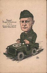 General Dwight D. Eisenhower Riding in Army Jeep Postcard
