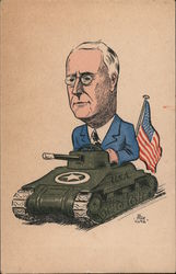 Franklin D. Roosevelt riding a tank with the American flag on the back Postcard