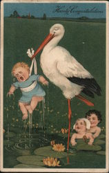 Hearty Congratulations - Stork lifting a crying baby boy from pond, while 2 other babies watch Postcard