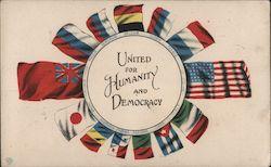 United for Humanity and Democracy. Flags of different nations in a circle.